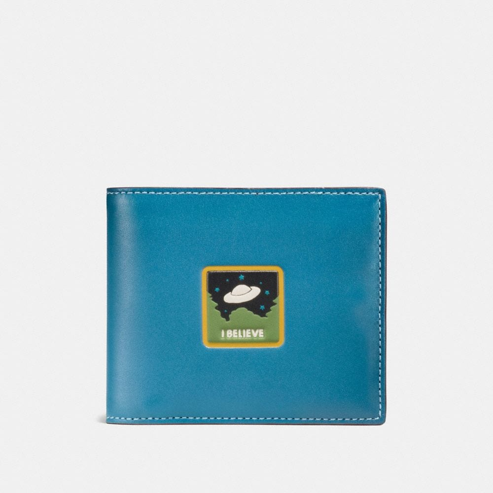 3-IN-1 WALLET IN GLOVETANNED LEATHER WITH UFO BELIEVE