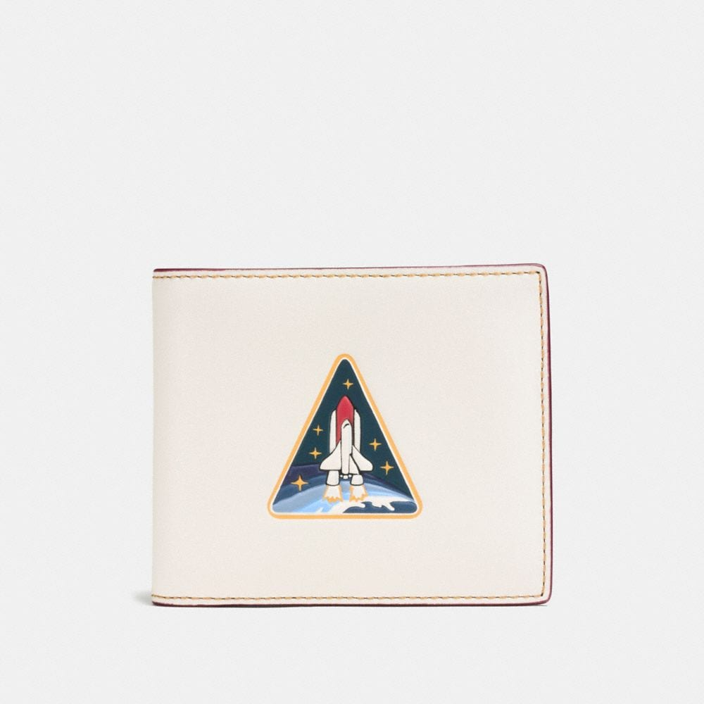 3-IN-1 WALLET IN GLOVETANNED LEATHER WITH ROCKET EARTH