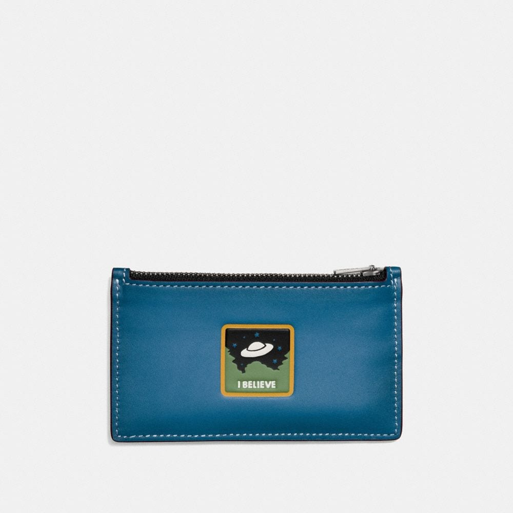ZIP CARD CASE IN GLOVETANNED LEATHER WITH UFO BELIEVE