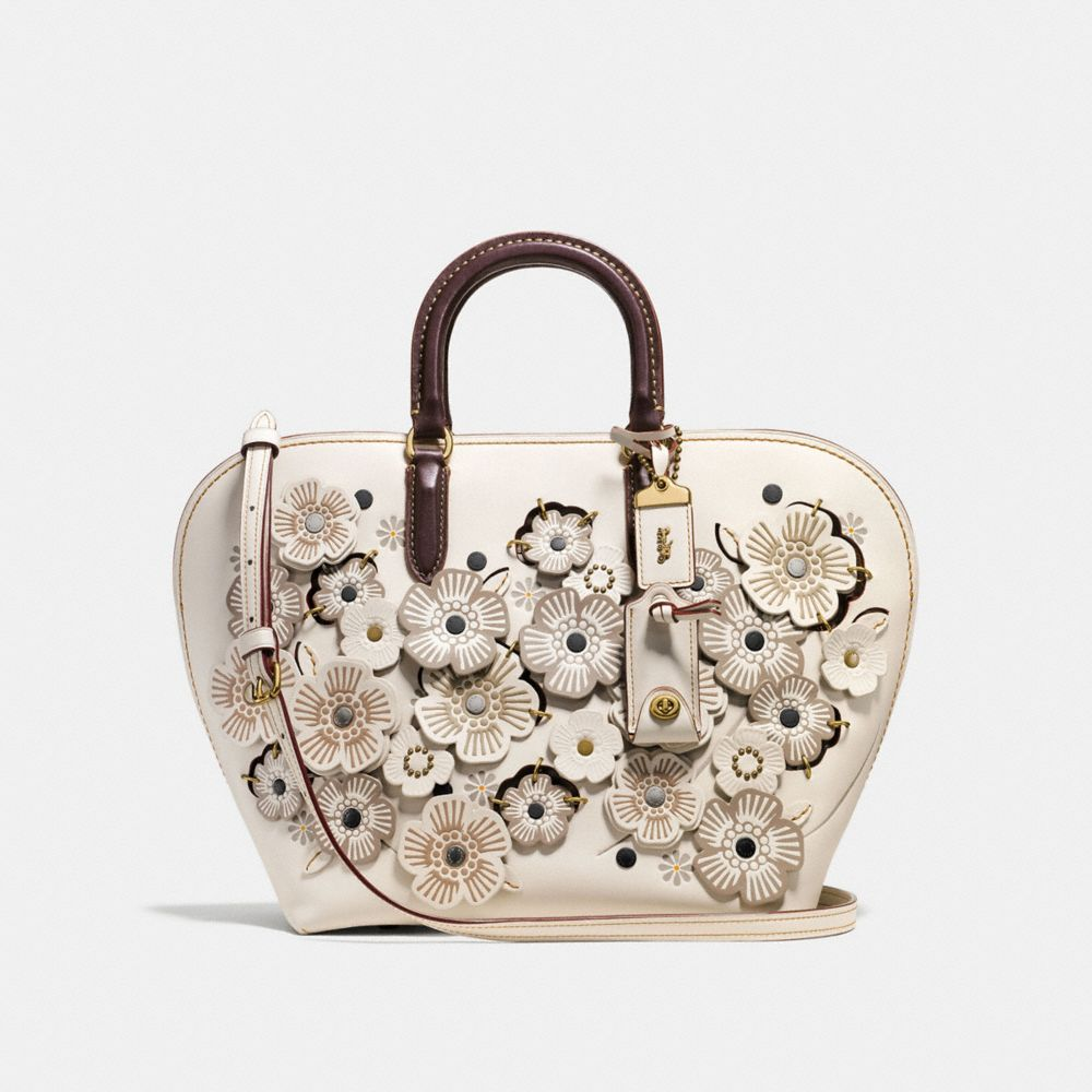 DAKOTAH SATCHEL IN GLOVETANNED LEATHER WITH LINKED TEA ROSE