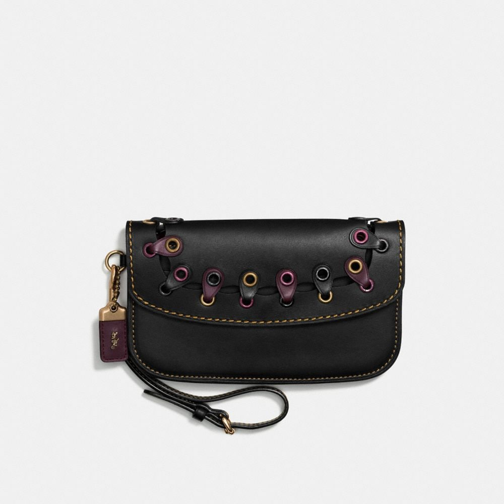 CLUTCH IN COACH LINK GLOVETANNED LEATHER