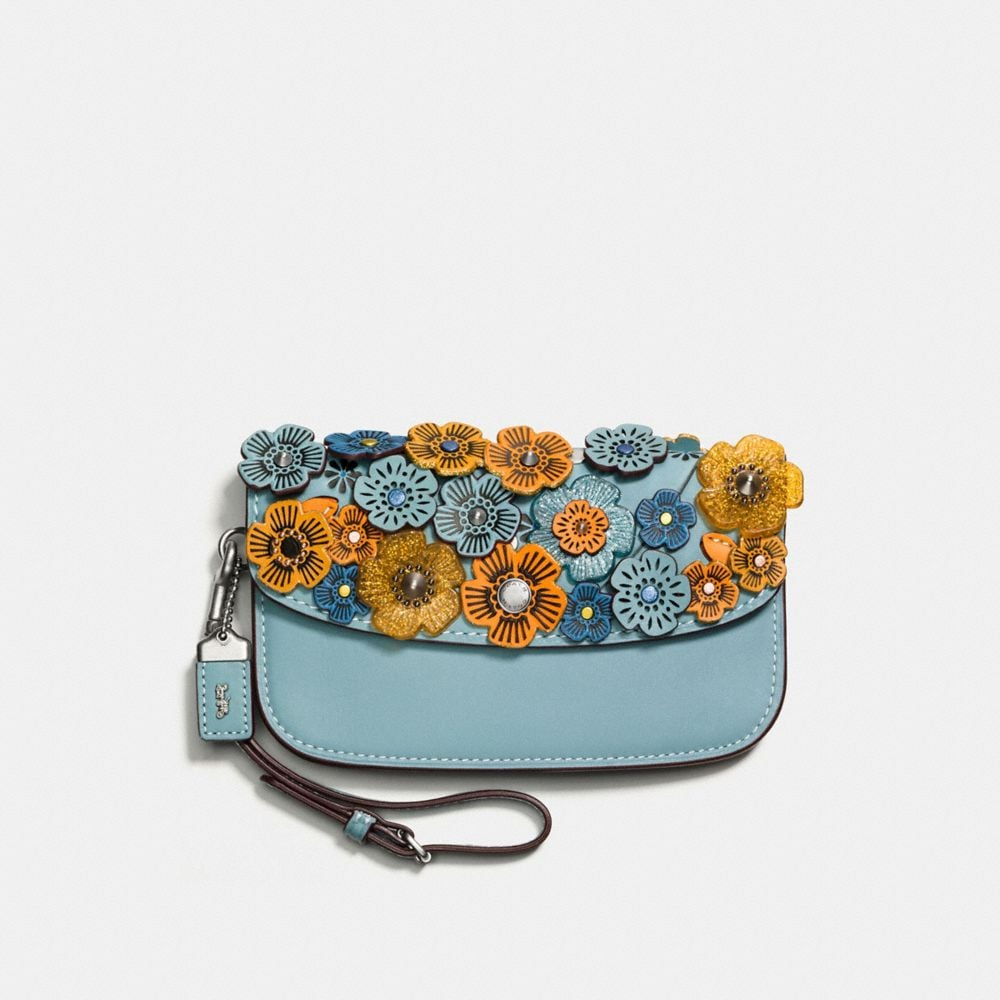 CLUTCH IN GLOVETANNED LEATHER WITH GLITTER TEA ROSE