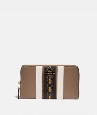 MEDIUM ZIP AROUND WALLET WITH VARSITY STRIPE