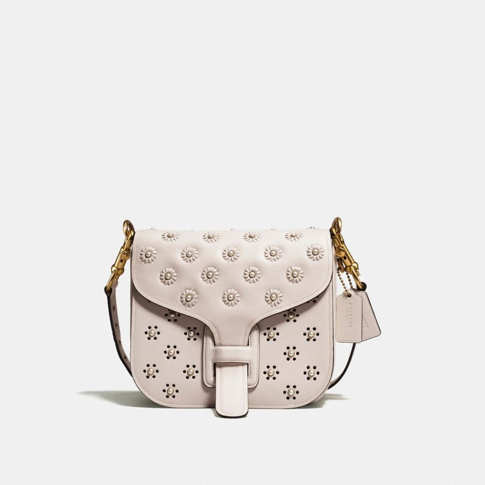 COURIER BAG IN GLOVETANNED LEATHER WITH WHIPSTITCH EYELET AND SNAKE DETAIL