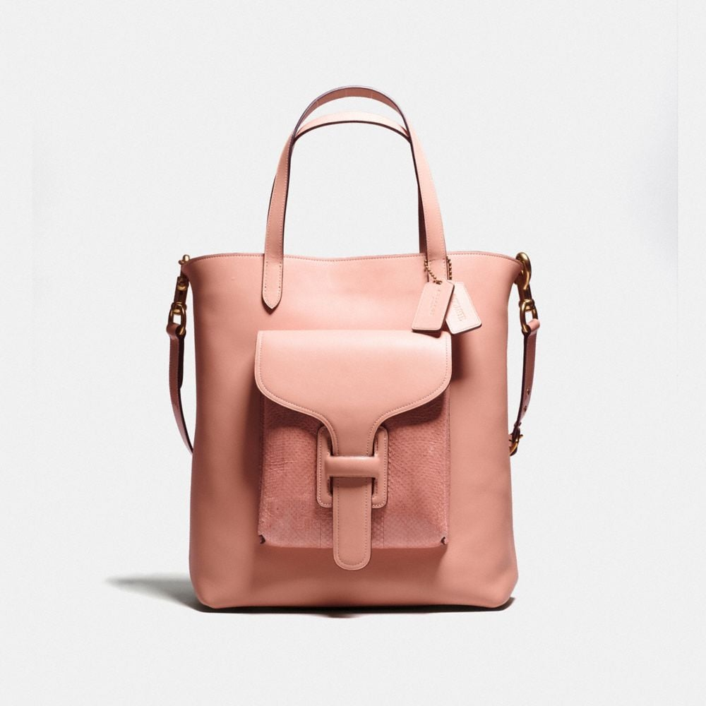 POCKET TOTE IN GLOVETANNED LEATHER WITH SNAKE DETAIL