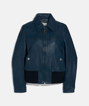 DOUBLE ZIP LEATHER BLOUSON