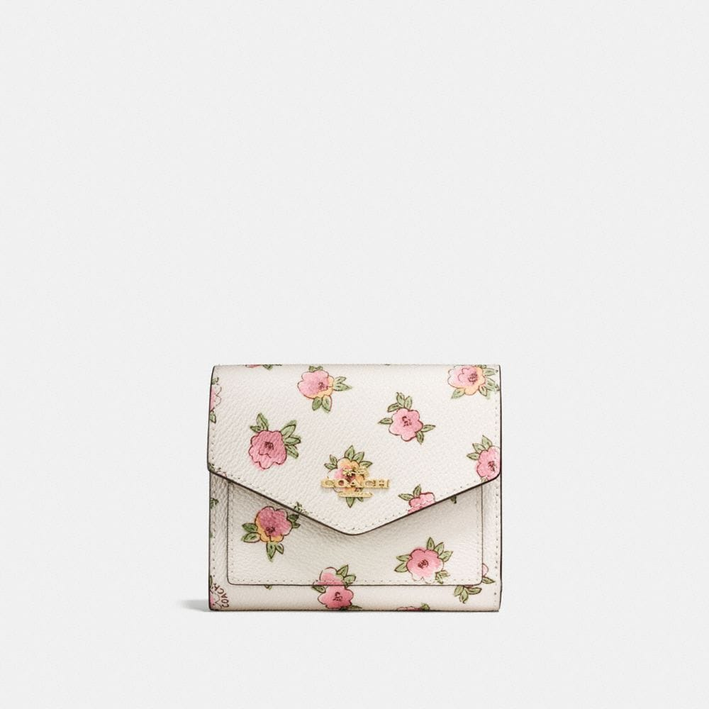 SMALL WALLET IN FLOWER PATCH PRINT COATED CANVAS