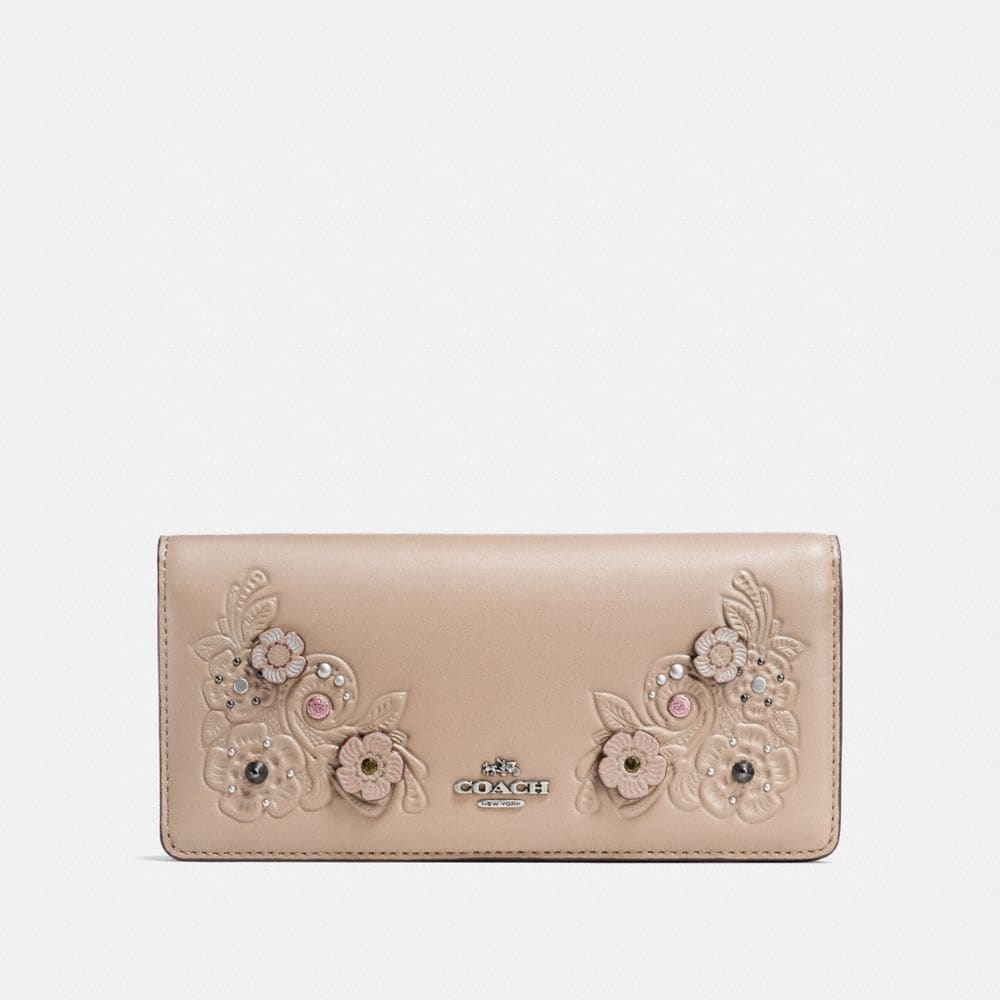 SLIM WALLET IN GLOVETANNED LEATHER WITH TEA ROSE TOOLING