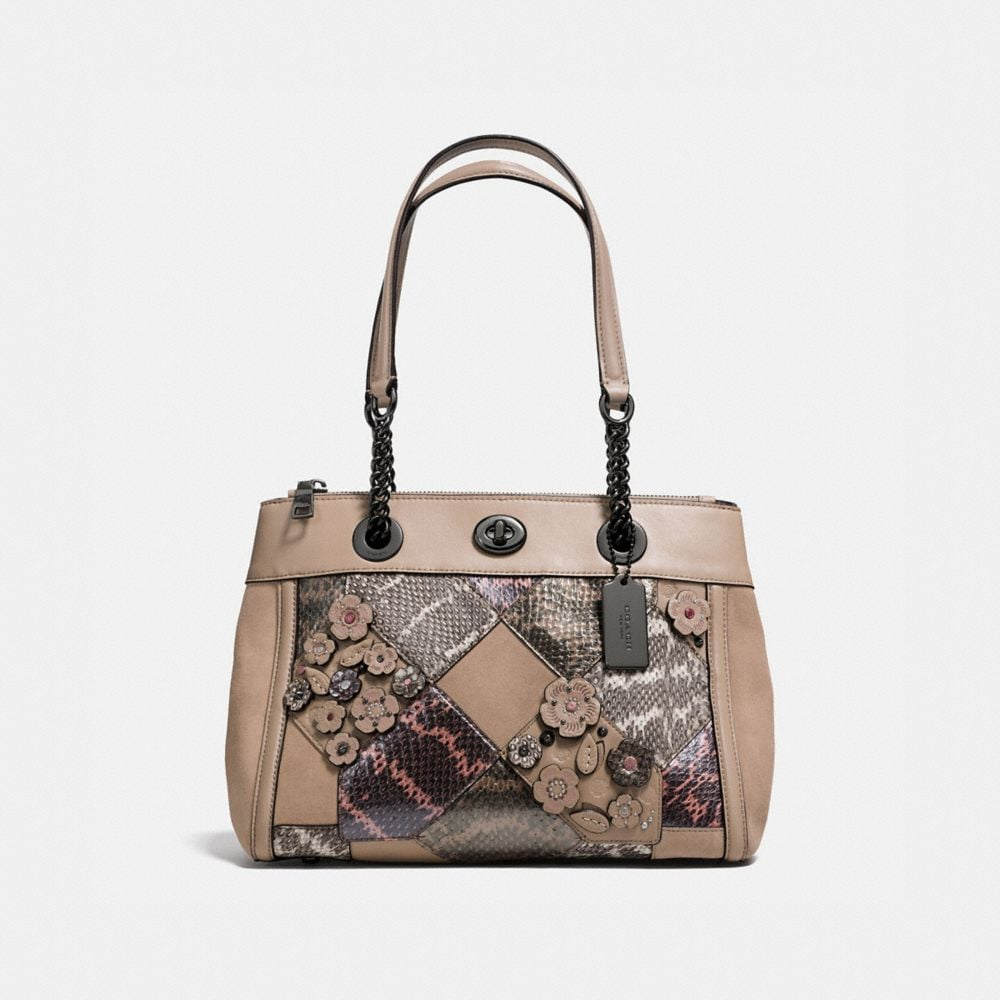 TURNLOCK EDIE CARRYALL WITH PATCHWORK SNAKESKIN