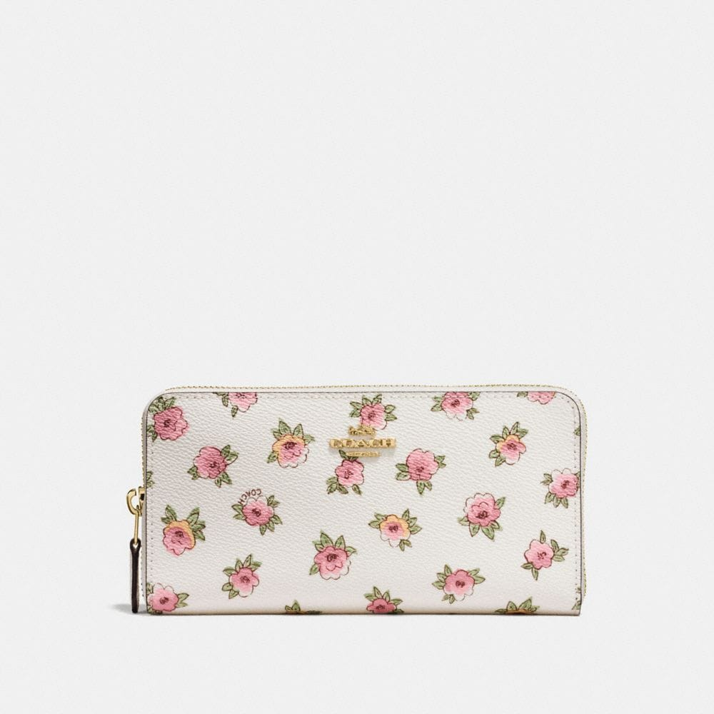 ACCORDION ZIP WALLET IN FLOWER PATCH PRINT COATED CANVAS