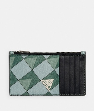 ZIP CARD CASE WITH CHECK GEO PRINT