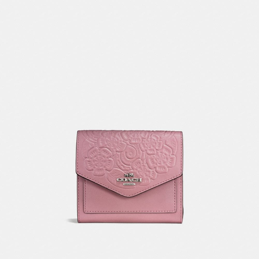 SMALL WALLET IN GLOVETANNED LEATHER WITH TEA ROSE TOOLING