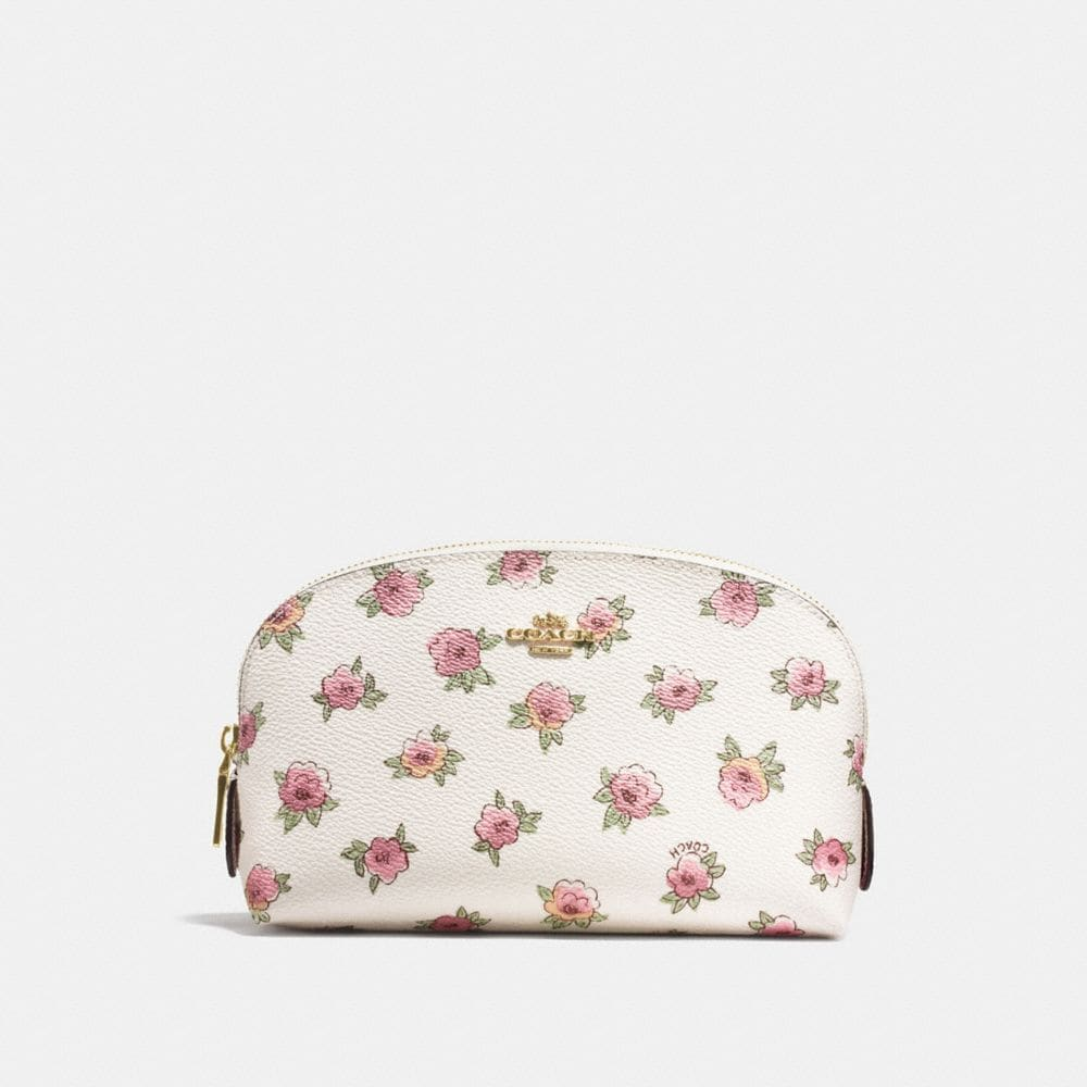 COSMETIC CASE 17 IN FLORAL PATCH PRINT COATED CANVAS