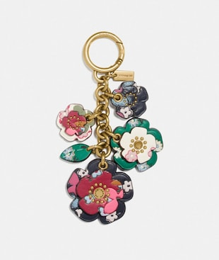 TEA ROSE MIX BAG CHARM WITH MULTI FLORAL PRINT