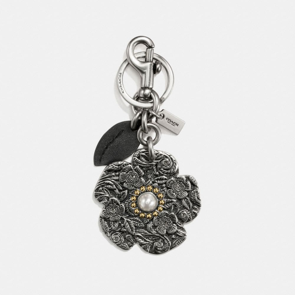 TOOLED TEA ROSE BAG CHARM