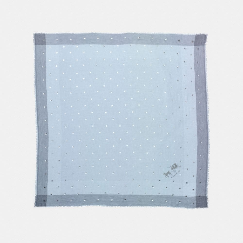 SCATTERED STARS FOIL PRINT WINDOWPANE CHALLIS