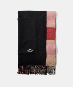 REVERSIBLE PLAID PRINT CASHMERE OVERSIZED MUFFLER