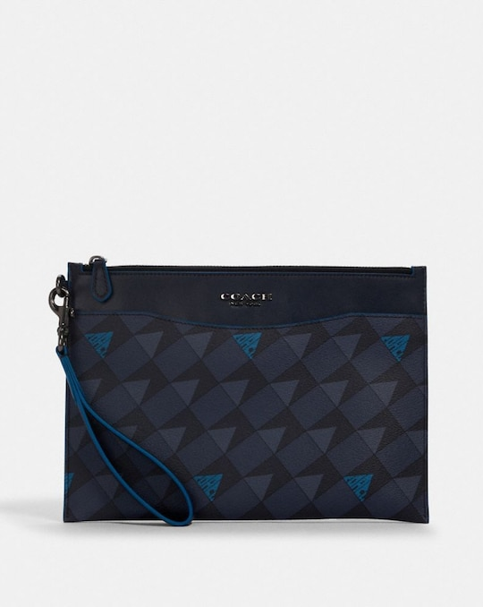 BECKETT SLIM POUCH WITH GEO CHECK PRINT