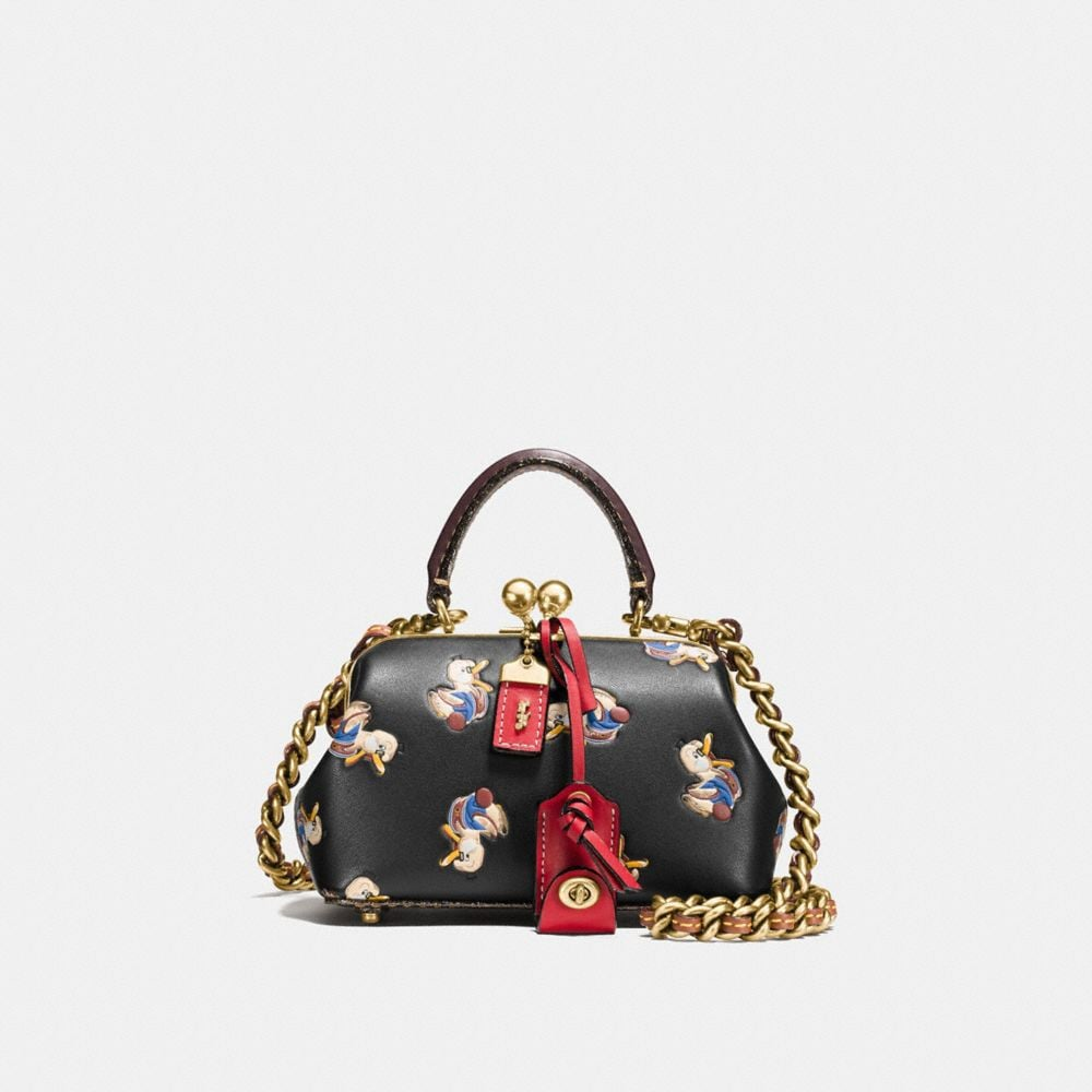 KISSLOCK SATCHEL 19 IN GLOVETANNED LEATHER WITH COLORBLOCK DUCK PRINT