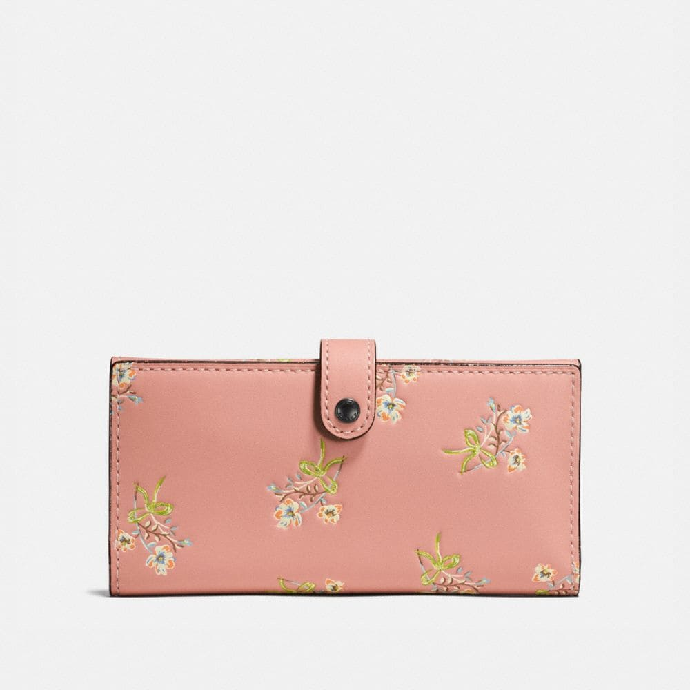 SLIM TRIFOLD WALLET IN GLOVETANNED LEATHER WITH FLORAL BOW PRINT