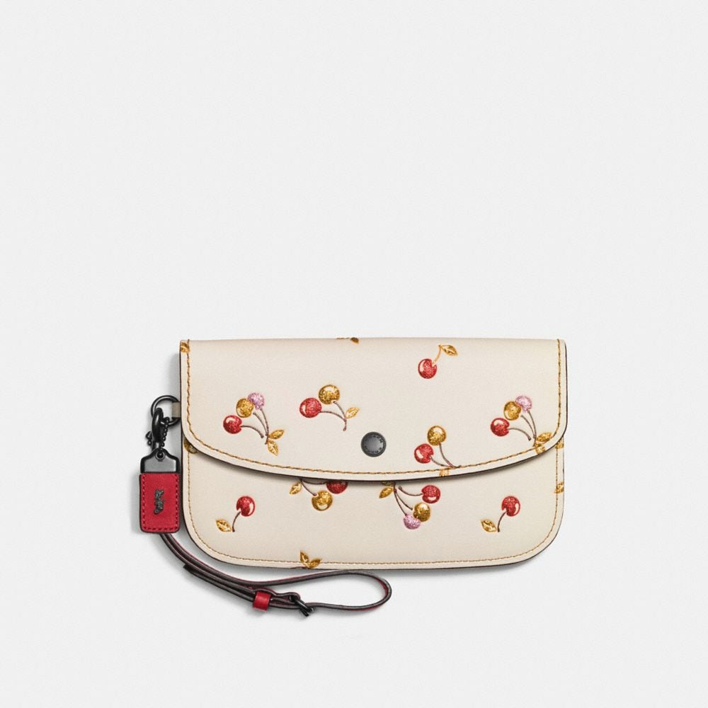 CLUTCH IN GLOVETANNED LEATHER WITH CHERRY PRINT
