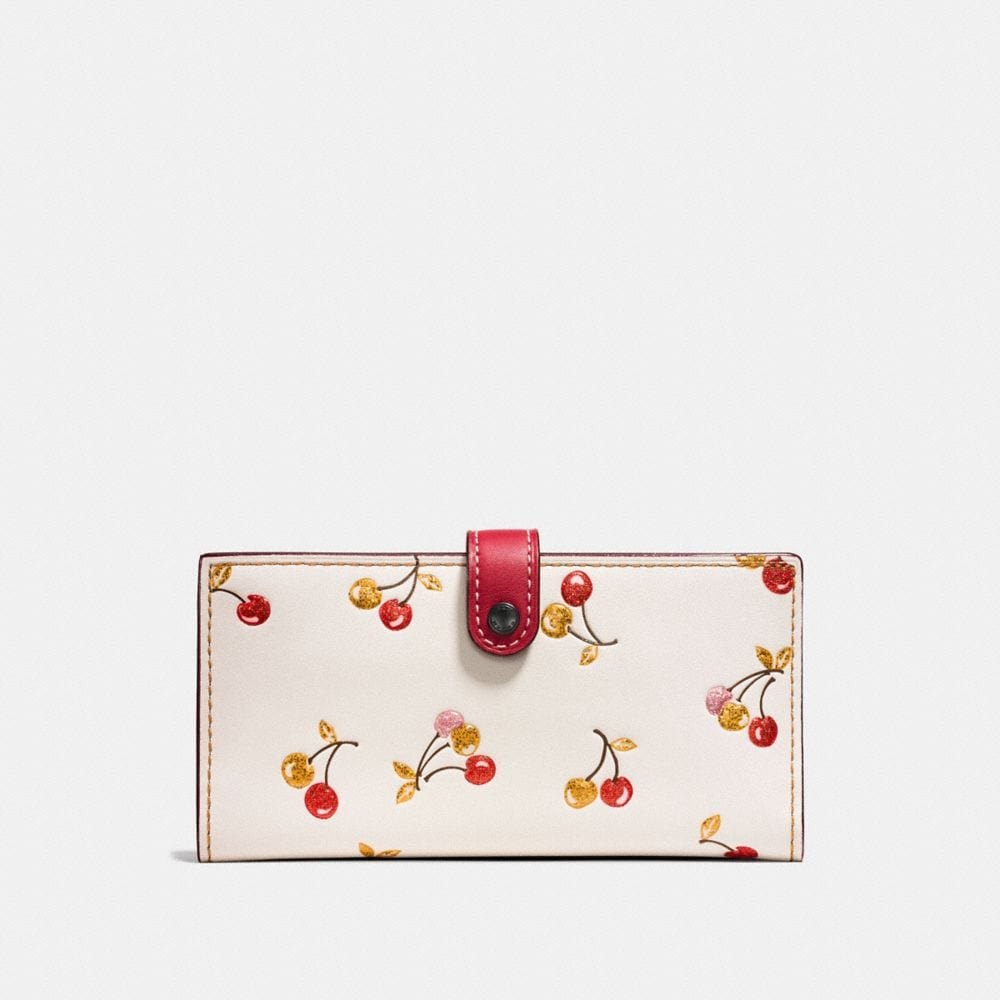 SLIM TRIFOLD WALLET IN GLOVETANNED LEATHER WITH CHERRY PRINT