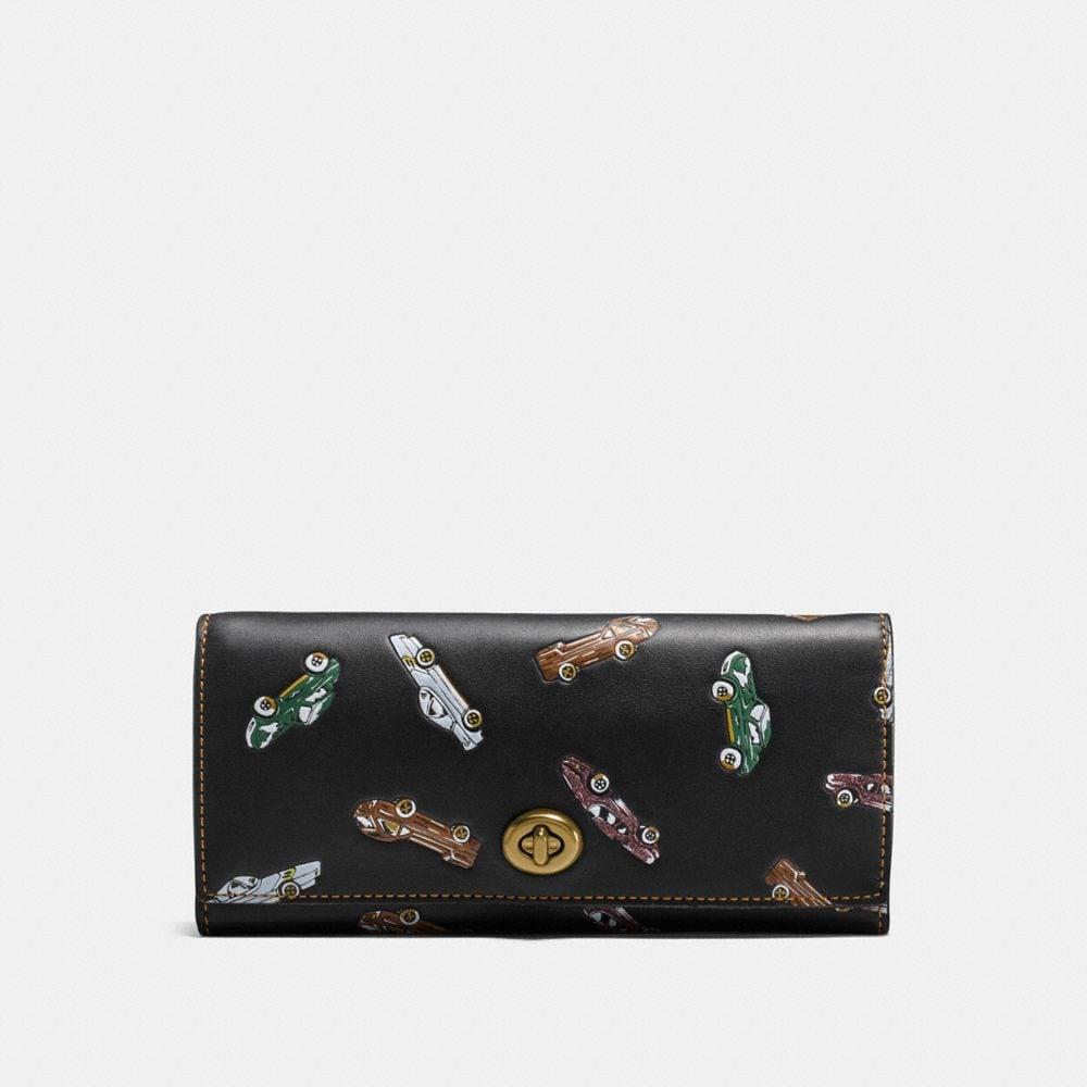 ENVELOPE WALLET IN GLOVETANNED LEATHER WITH CAR PRINT