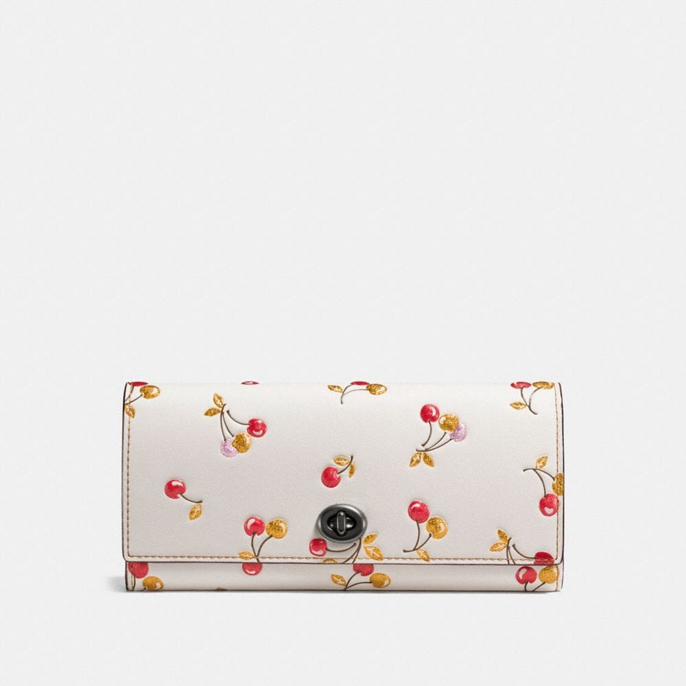 ENVELOPE WALLET IN GLOVETANNED LEATHER WITH CHERRY PRINT