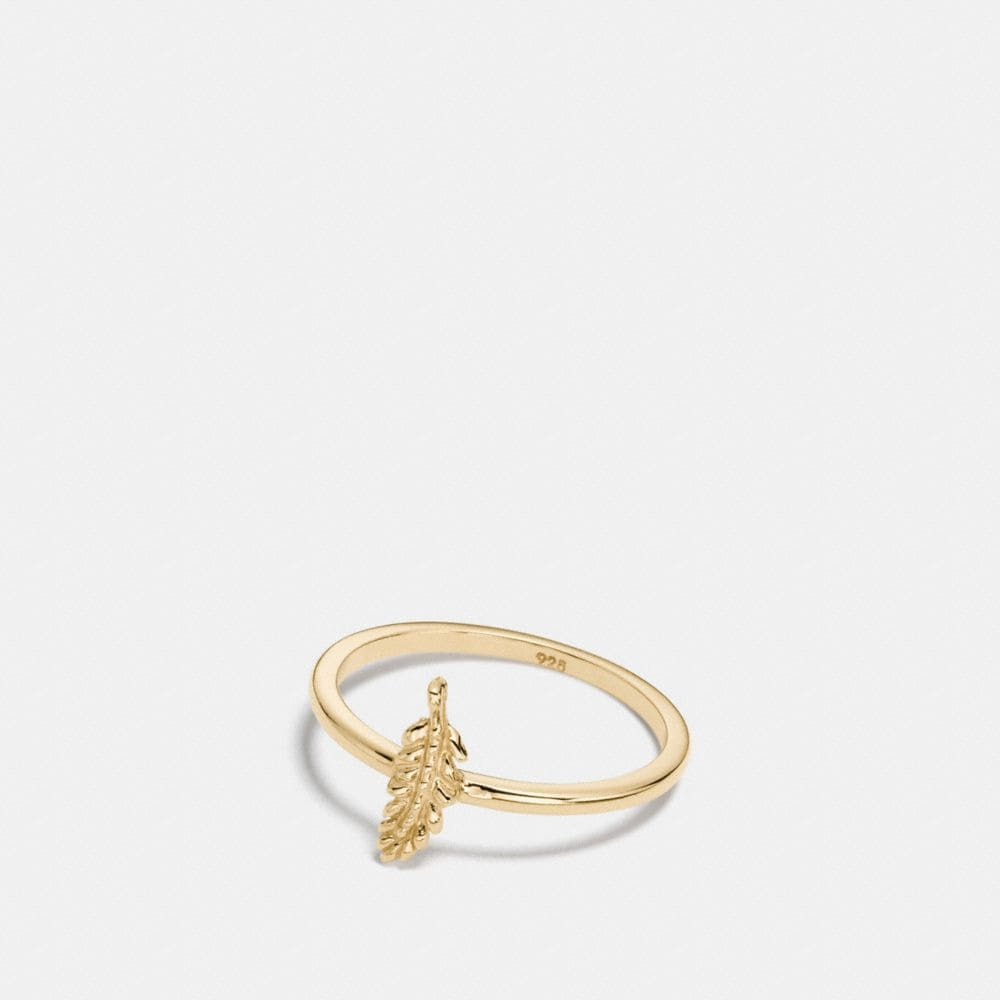 MINI 18K GOLD PLATED FEATHER RING