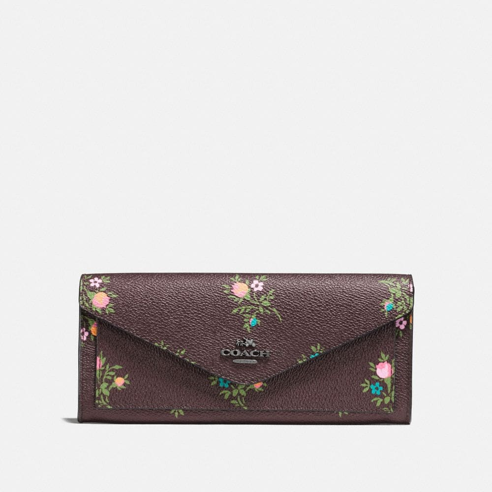 SOFT WALLET WITH CROSS STITCH FLORAL PRINT