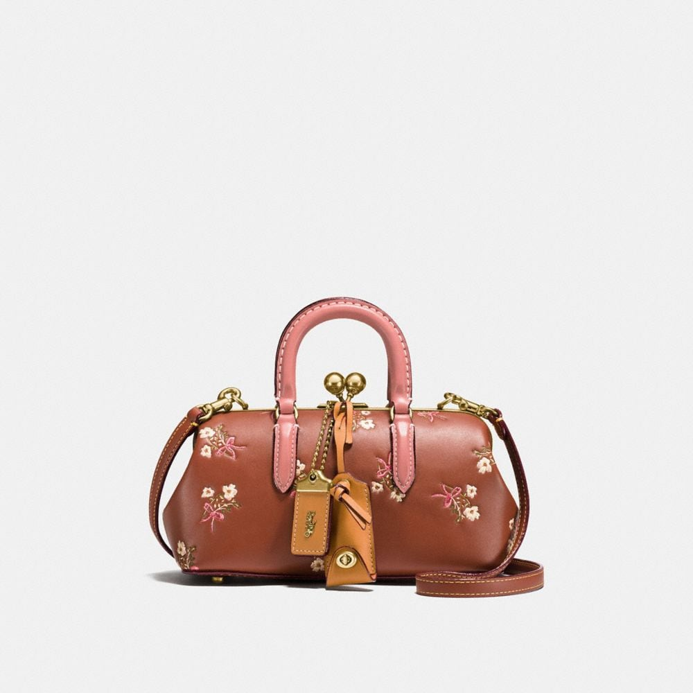 KISSLOCK SATCHEL IN GLOVETANNED LEATHER WITH FLORAL BOW PRINT