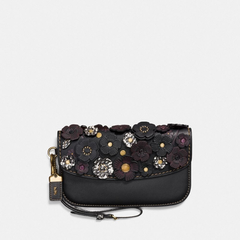 CLUTCH WITH SNAKESKIN SMALL TEA ROSE