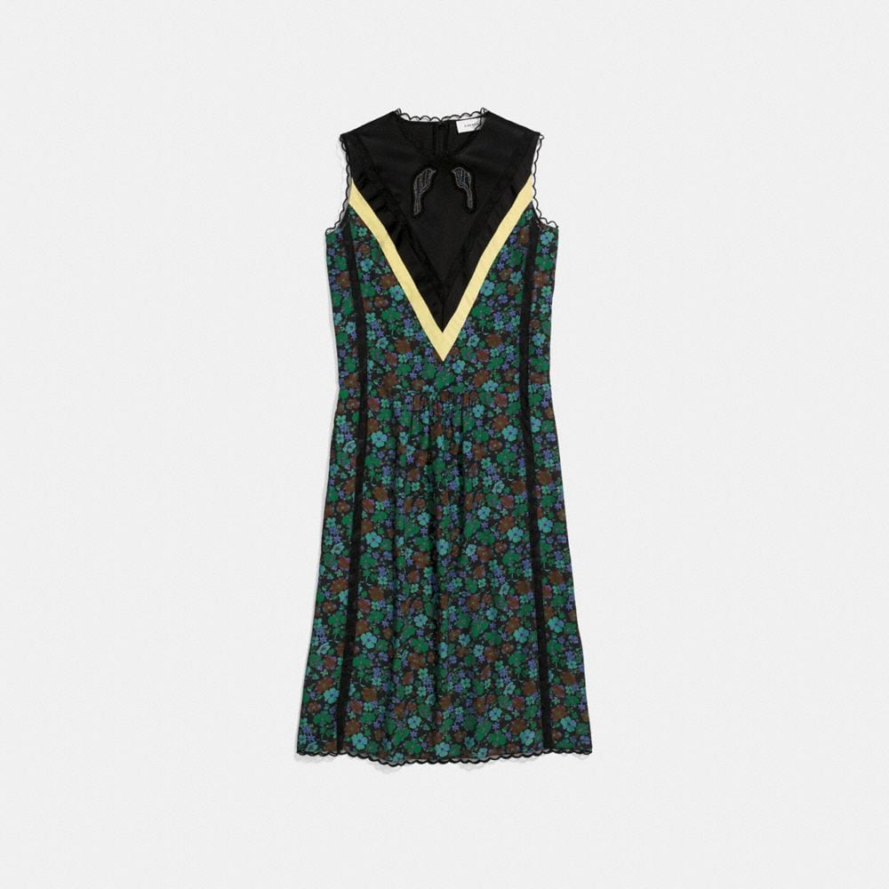 DAISY PRINT SLEEVELESS VARSITY DRESS