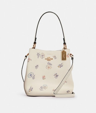 SMALL TOWN BUCKET BAG WITH DANDELION FLORAL PRINT