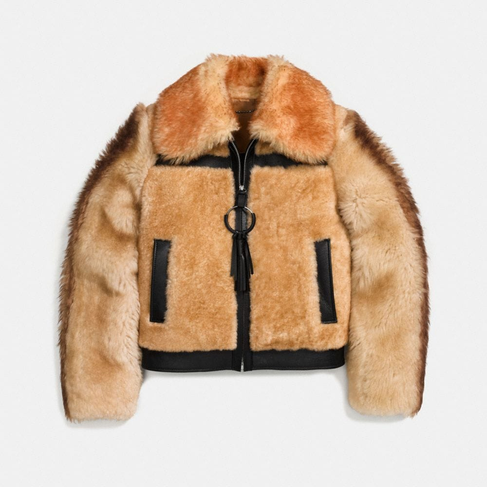 PIECED SHEARLING BOMBER