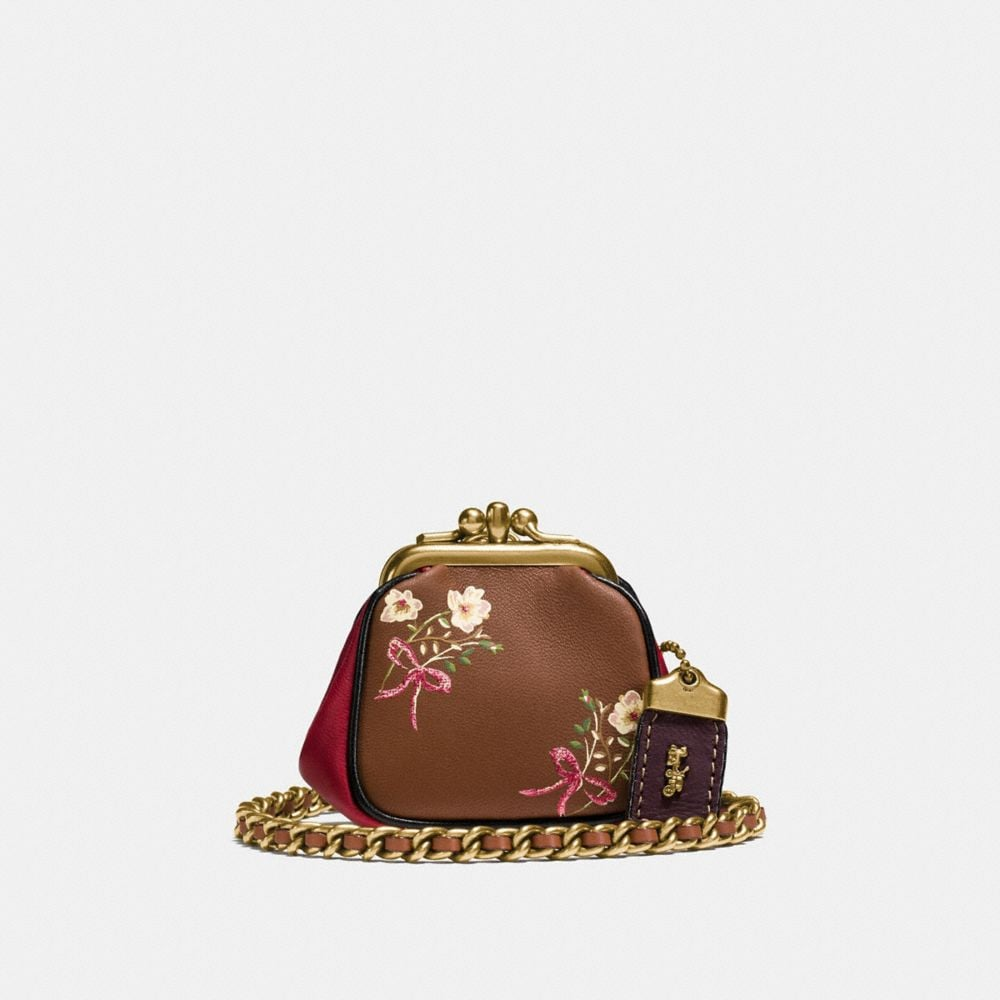 KISSLOCK POUCH IN GLOVETANNED NAPPA LEATHER WITH FLORAL BOW PRINT