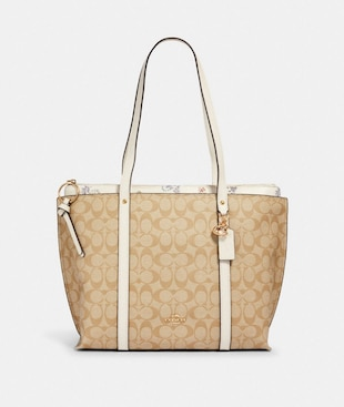 MAY TOTE IN SIGNATURE CANVAS WITH DANDELION FLORAL PRINT