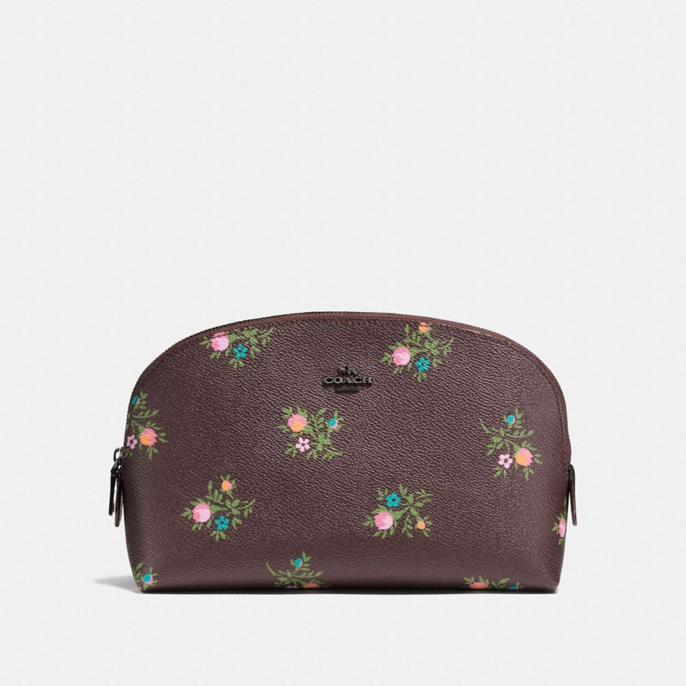COSMETIC CASE 22 WITH CROSS STITCH FLORAL PRINT