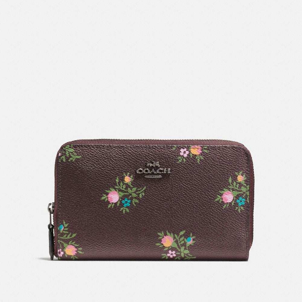 MEDIUM ZIP AROUND WALLET WITH CROSS STITCH FLORAL PRINT