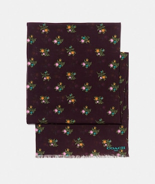 ALLOVER CROSS STITCH FLORAL PRINT OBLONG SCARF