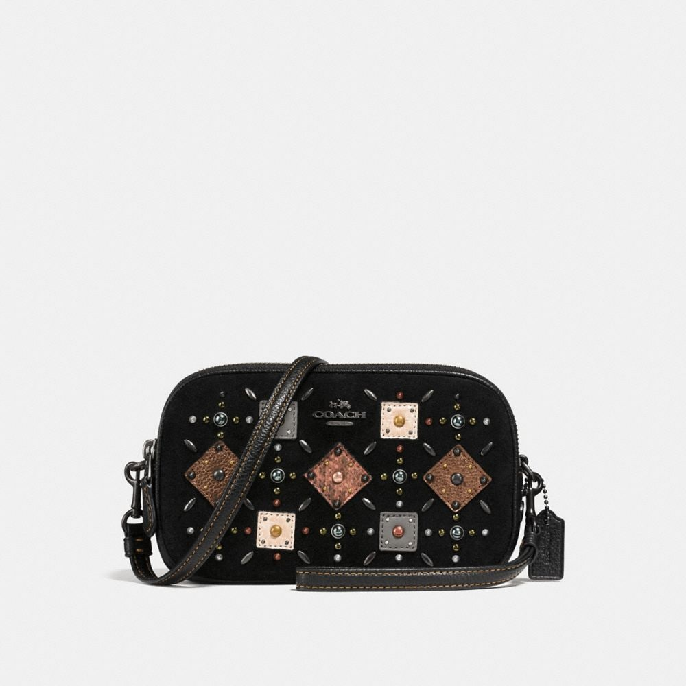 CROSSBODY CLUTCH WITH PRAIRIE RIVETS AND SNAKESKIN DETAIL
