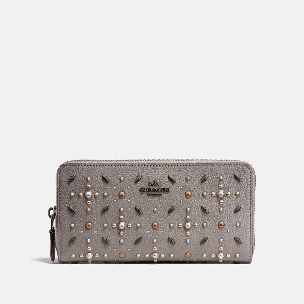 ACCORDION ZIP WALLET WITH PRAIRIE RIVETS