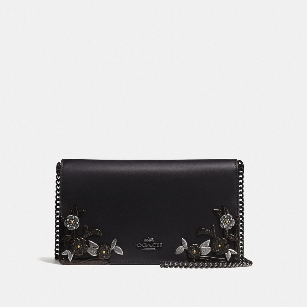 CALLIE FOLDOVER CHAIN CLUTCH WITH METAL TEA ROSE