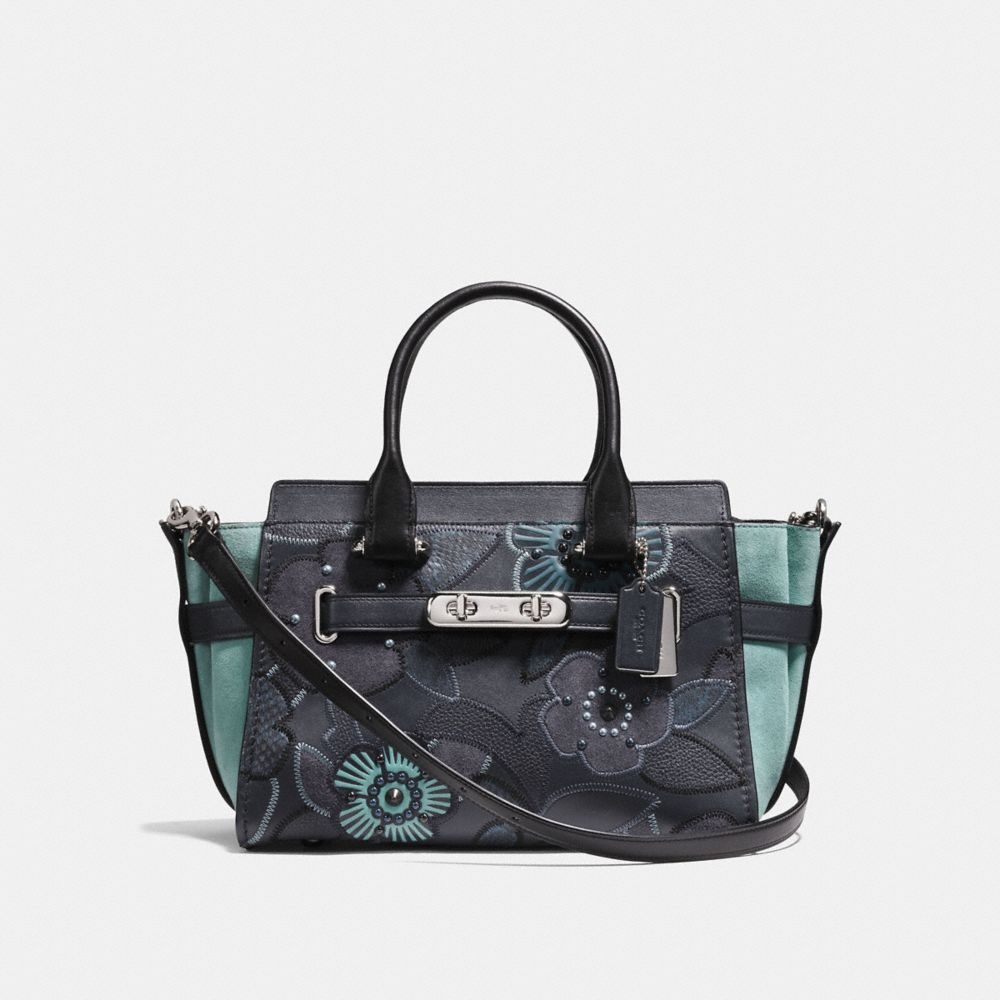 SWAGGER 27 COACH CON PATCHWORK ROSA TEA E DETTAGLI IN SERPENTE