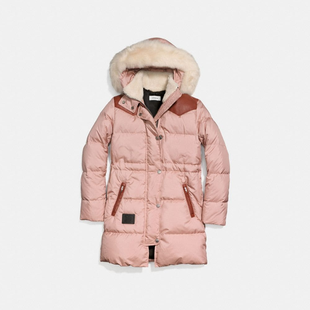 SHEARLING PUFFER COAT