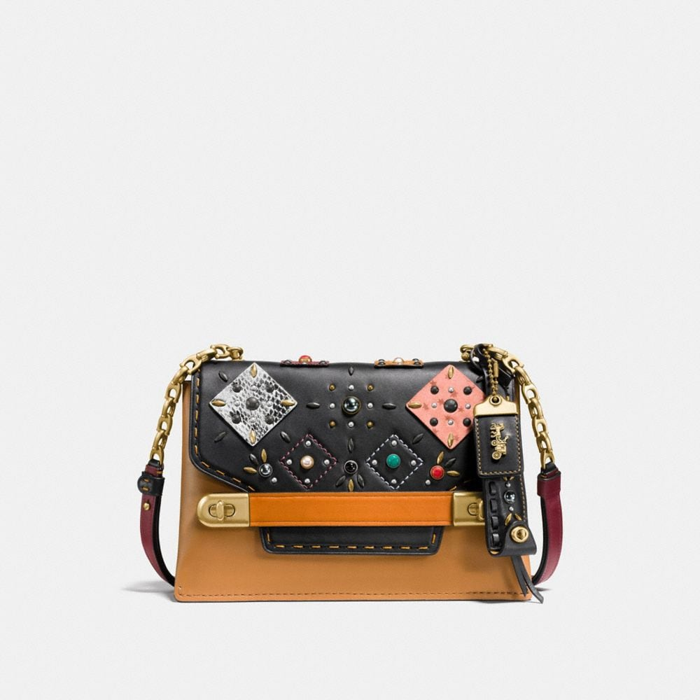 COACH SWAGGER CHAIN CROSSBODY WITH SNAKESKIN PATCHWORK PRAIRIE RIVETS