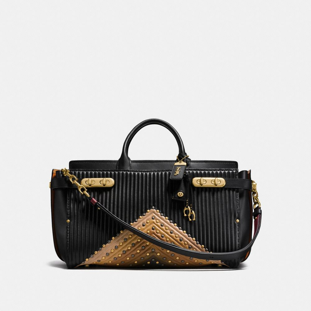 COACH DOUBLE SWAGGER 43 WITH COLORBLOCK QUILTING AND RIVETS