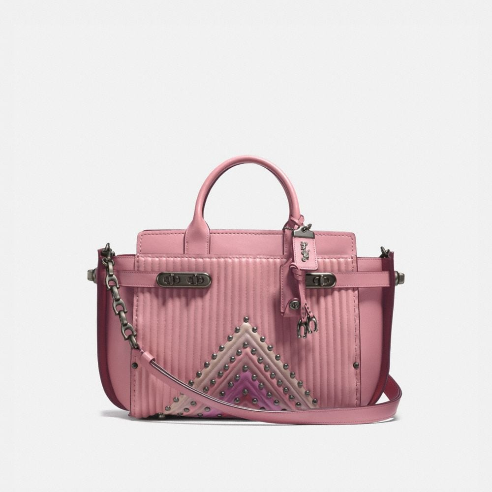 COACH DOUBLE SWAGGER WITH COLORBLOCK QULTING AND RIVETS