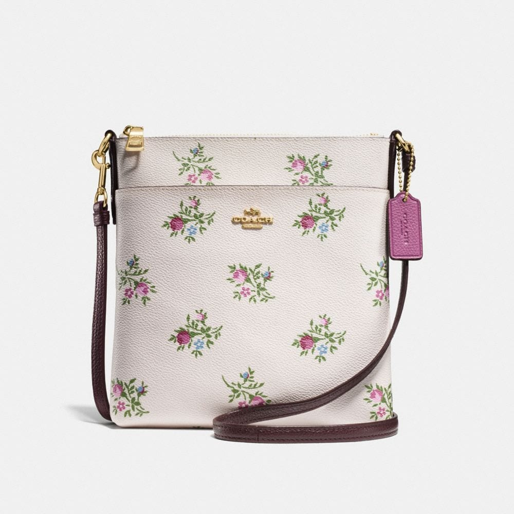 MESSENGER CROSSBODY WITH CROSS STITCH FLORAL PRINT