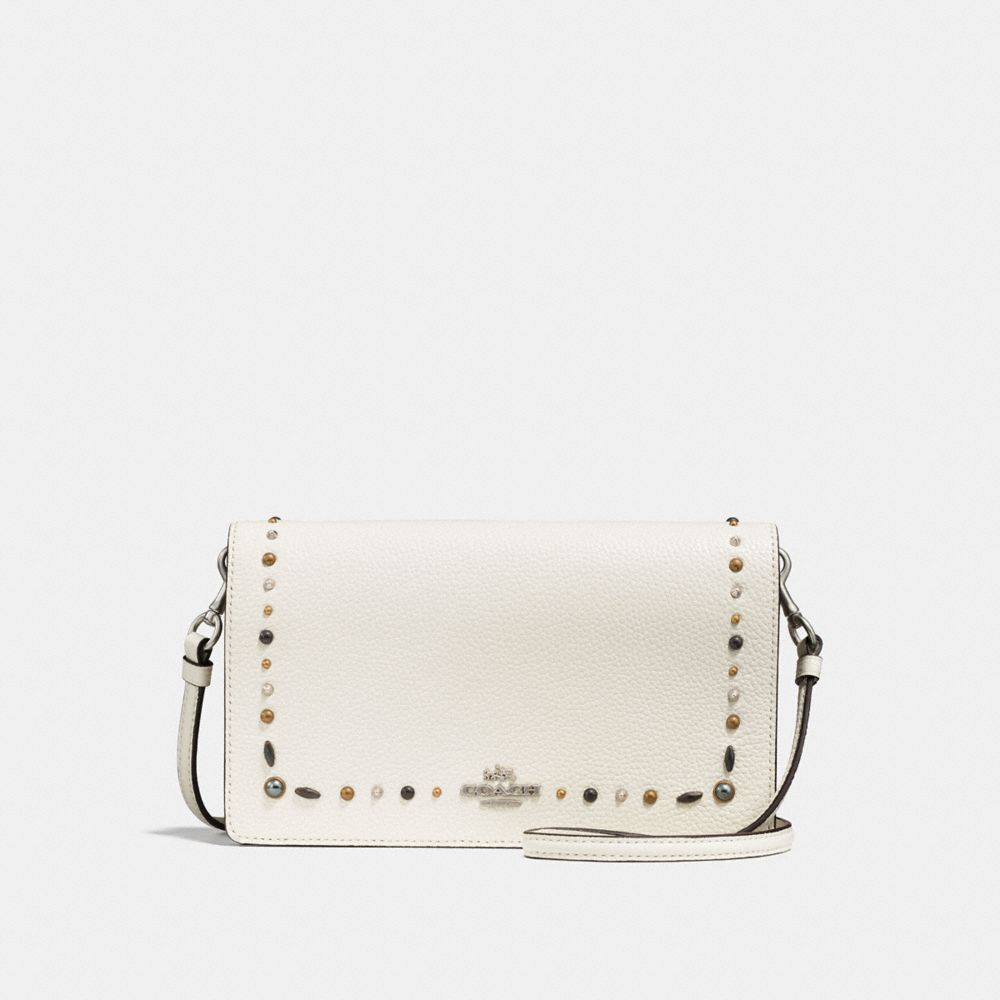 FOLDOVER CROSSBODY CLUTCH WITH PRAIRIE RIVETS